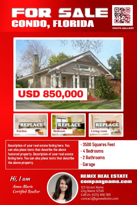 Reddish real estate flyer template