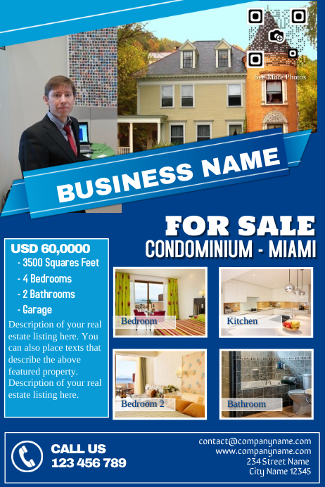 Blue real estate flyers