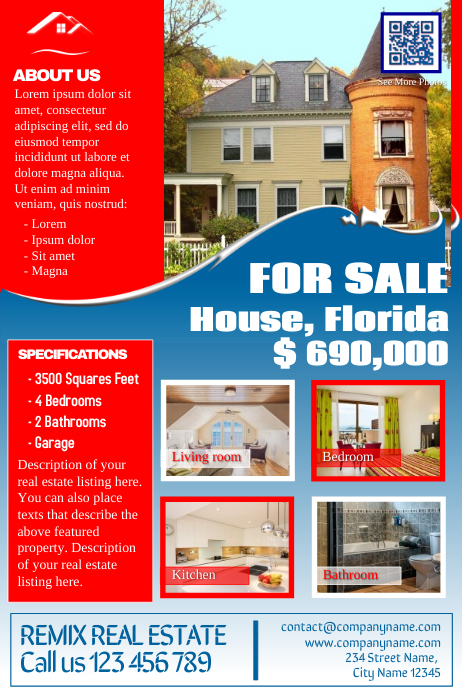 franchise real estate flyers red white and blue template