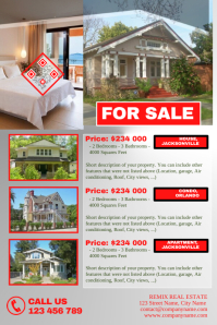 Futuristic real estate flyer -Red/Silver