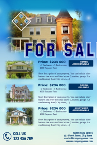 Real estate flyers template with a blue sky background