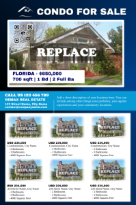 Customizable real estate flyer template