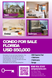 Real estate flyer for single property - Big texts and 4 big photos