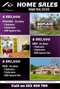 Purple real estate flyer - Big texts - 3 properties
