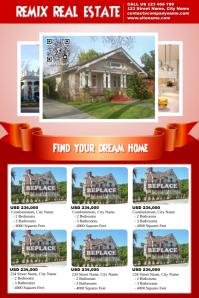 Elegant real estate flyer - For 6 property listings - Red version