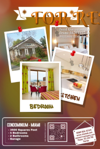 Creative real estate flyers - Great for vacation rentals (4 big photos with Polaroid frames)