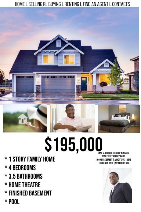 Real Estate Home Sale Website Template Postermywall