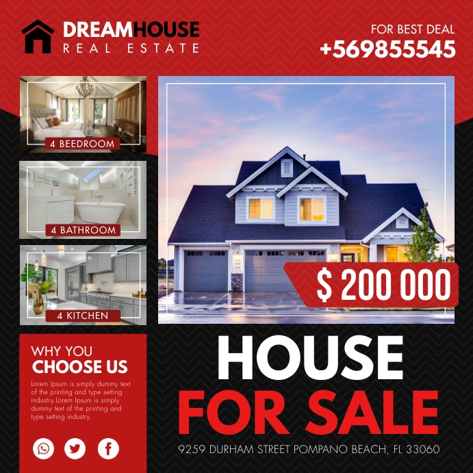 Real Estate House for Sale Ad Instagram Templ template