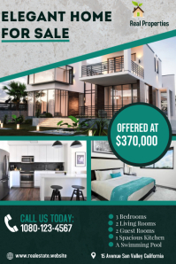 Real Estate House for Sale., Poster template