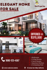 Real Estate House for Sale. Poster template