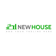 real estate icon logo grey and green colors t template