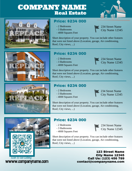 Real estate listing flyer - Letter size version Pamflet (Letter AS) template