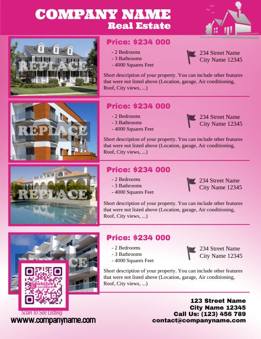 Real estate listing flyer - Letter size version