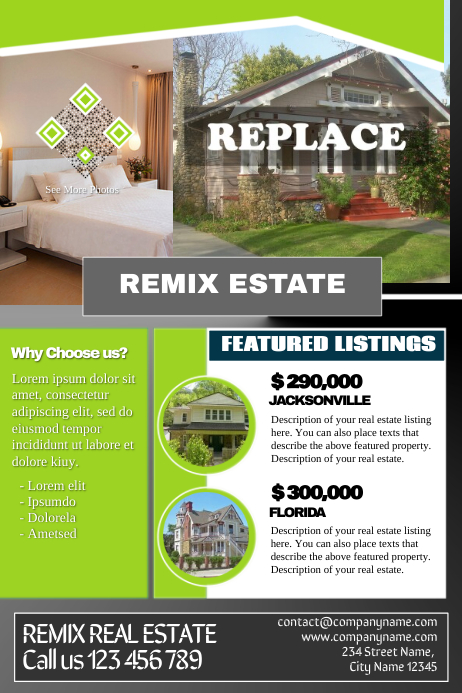 Greenblack Real Estate Listing Flyer Template Postermywall