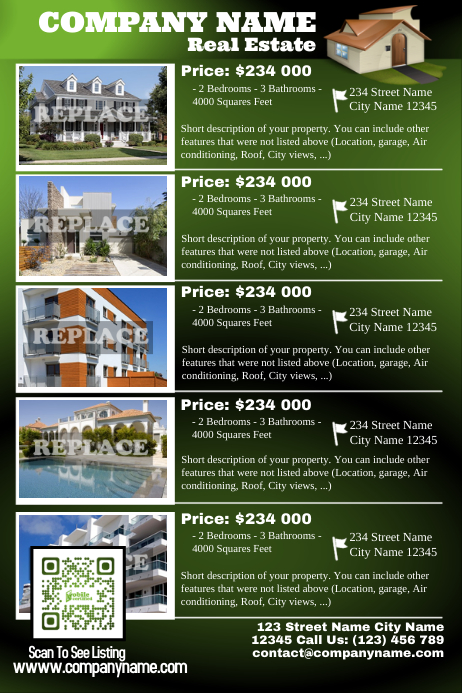 Real estate listing flyer with green QR code VER2