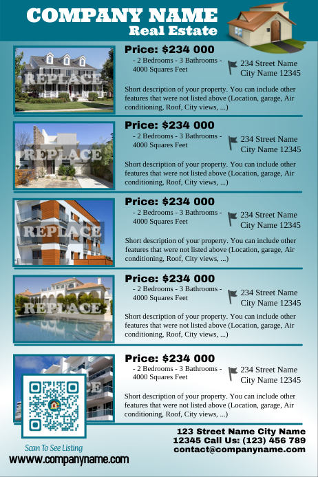 flat real estate listing flyer with a qr code postermywall. Black Bedroom Furniture Sets. Home Design Ideas