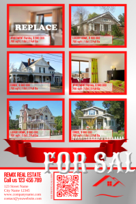 Red real estate listing flyer