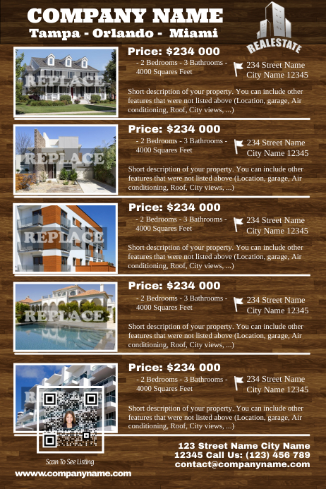 Real Estate Listing flyer - Transparent style - With visual QR code