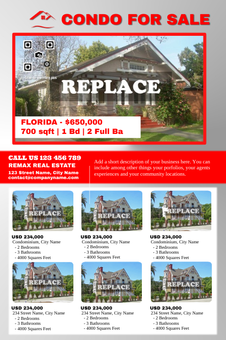 real estate listing flyer with big and small photos red grey