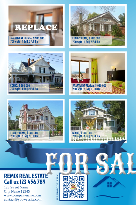 real estate listing flyer blue light template postermywall