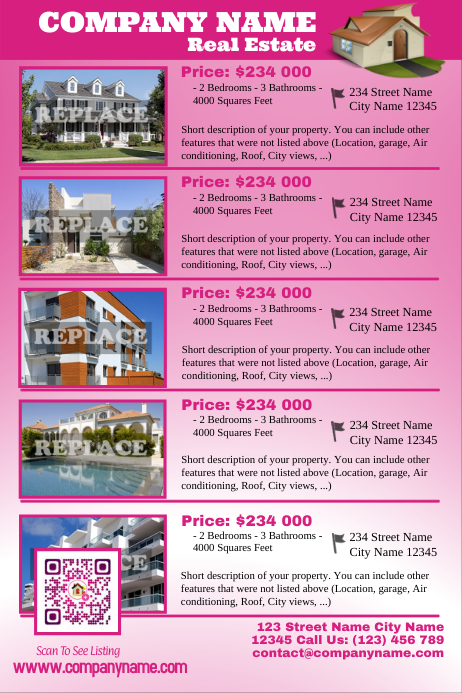 pink real estate listing template postermywall