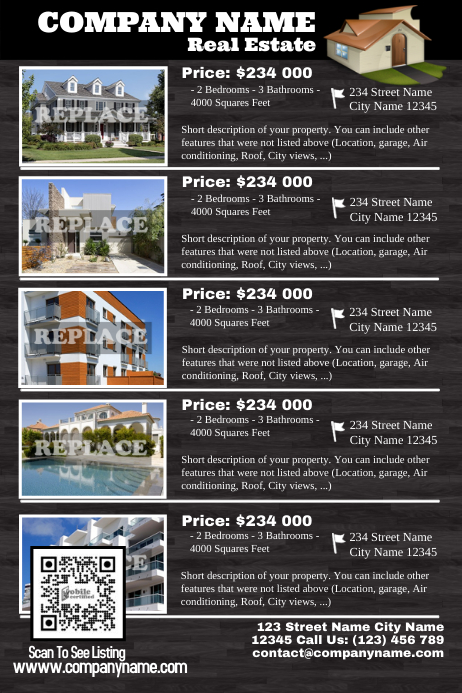 Real Estate Listings Flyer - Wood style ver. 2