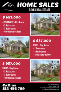 Real estate listings template (Flat version, with QR codes)