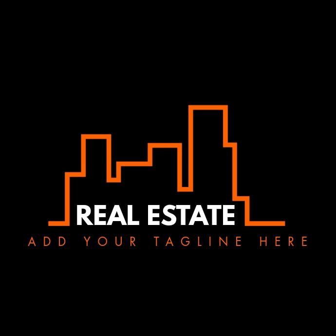 Real estate logo orange and white colors template