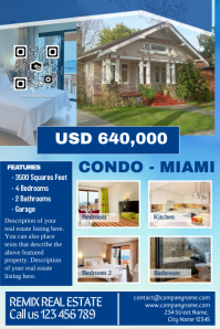 Real estate marketing flyer - Blue