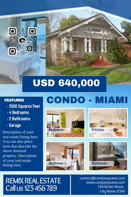 Real estate marketing flyer - Blue