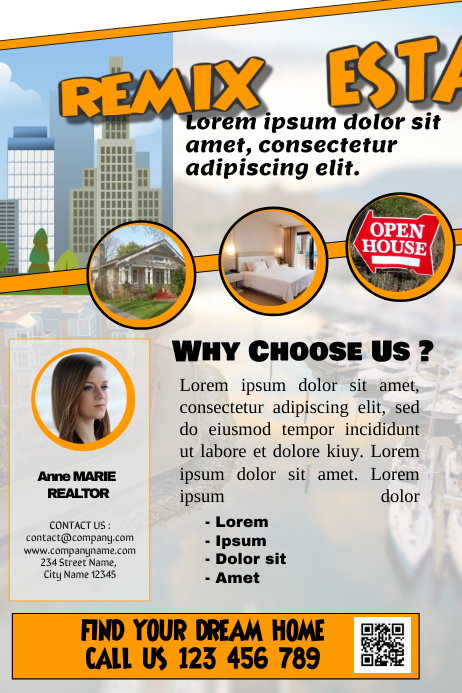 white real estate marketing flyer poster my wall fully editable