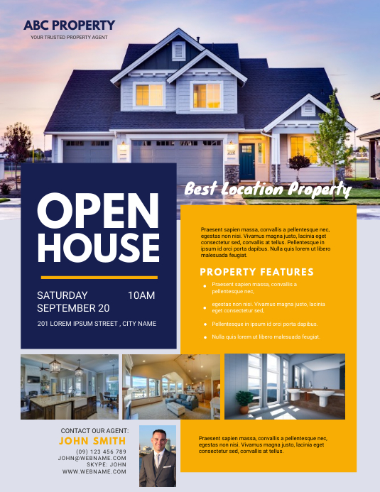 Real Estate Open House Flyer Template Folheto (US Letter)