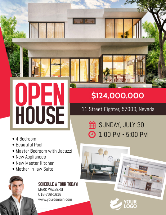 Real Estate Open House Flyer Template Volante (Carta US)