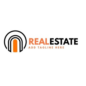 Real estate orange and black logo template
