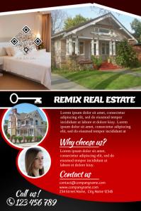 Red brochure for real estate business (dark version)