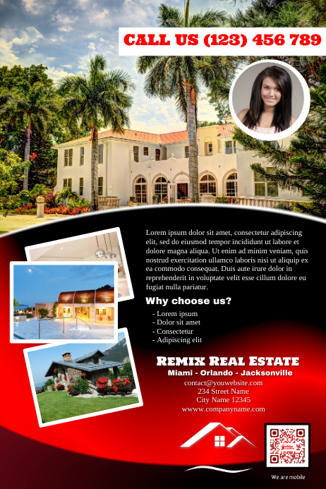 elegant real estate and hotel advertising flyer red glossy