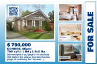 Blue real estate poster - Landscape design with a big photo
