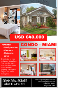 Modern real estate poster - Red/Light