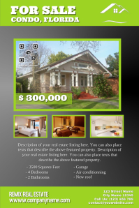 Black 3D real estate poster with QR code