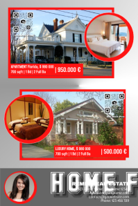 Real estate poster with two big realty photos - Red/Grey