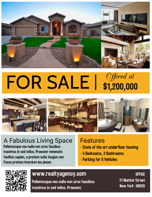 real estate house for sale poster flyer template
