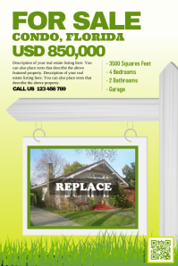 Cute real estate poster with a green scenery background