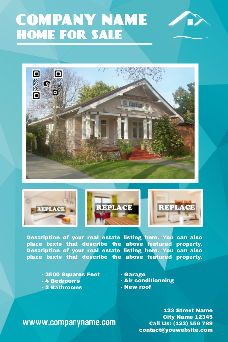 Cute real estate poster template