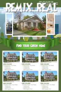 Green real estate poster for 6 listings - Stylish version