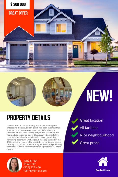 Real estate flyer template Poster