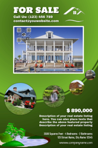 Real Estate Poster: Featured Property Listing version with a transparent QR code -