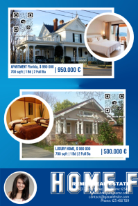 Blue real estate poster - For two properties