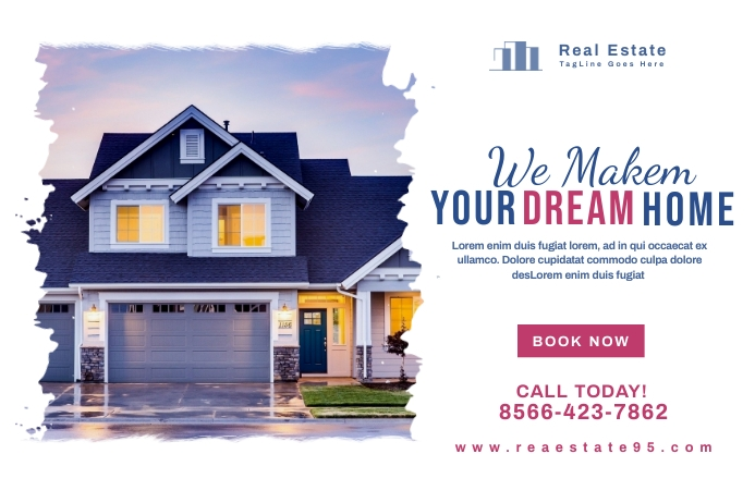 Real Estate Promotion Banner Design Bannière 4' × 6' template