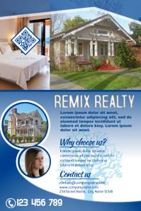 Real estate promotion flyer - Blue