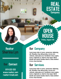 Real estate realtor business adds flyer and poster template Ulotka (US Letter)